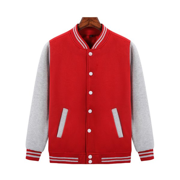 2019 comfortable autumn and winter youth men and women Red/greyButton cotton baseball uniform JH-020-037