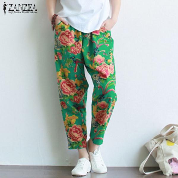 ZANZEA Chinese Style Floral Print Trousers Women Elastic Waist Harem Pants Female Vintage Cotton Pantalon Palazzo Plus Size 5XL