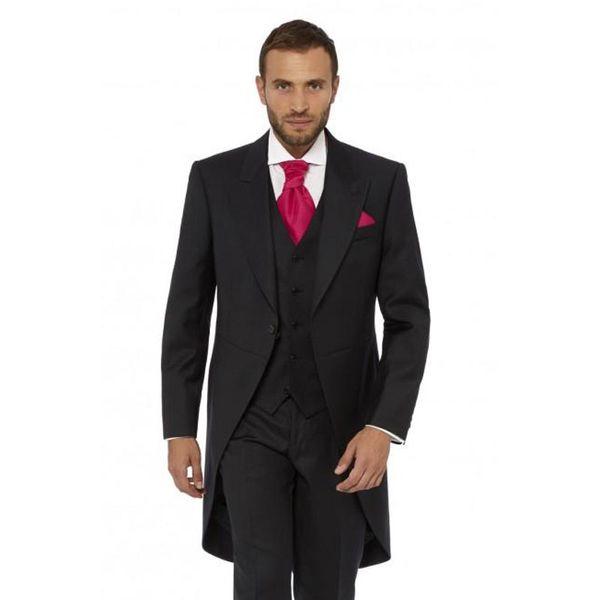 Black Long Jacket Men Suits for Wedding Tailcoat Groom Tuxedos 3Piece Peaked Lapel Latest Coat Pant Designs Terno Masculino trajes de hombre