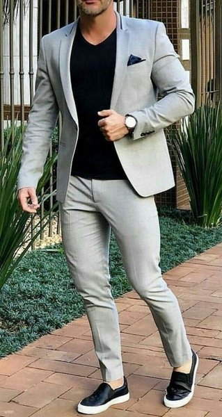 New Arrival Groom Tuxedos Light Grey Groomsmen Notch Lapel Best Man Suit Wedding/Men Suits Bridegroom ( Jacket+Pants+Tie ) A921