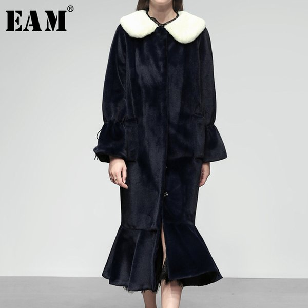 [EAM] 2019 Spring Winter Woman Navy Blue Long Flare Sleeve Removed White Fur Collar High Waist Sashes Long Fish Tail Coat LE756