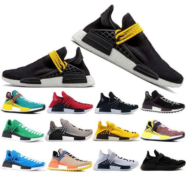 Free Shipping Human Race Hu trail pharrell williams Running shoes For Men Women Nerd black cream Hot mens trainers designer sports sneakers