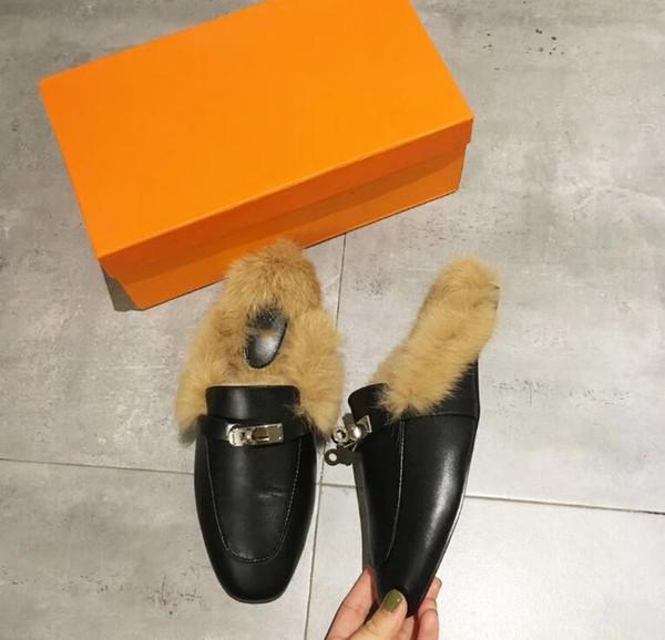 Designer chaussures 2019 marque hiver pantoufles de fourrure Princetown femmes Mocassins conduite en cuir véritable mode mocassins broderie luxe mules