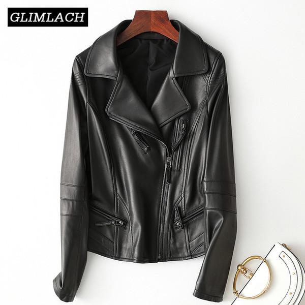 2019 Women Genuine Leather Jacket Black Slim Natural Sheep Leather Jacket Motorcycle Biker Ladies Coat Outerwear Autumn Clothes