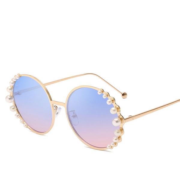 new luxury round pearl sunglasses for men and women modern fashion designer sun glasses round frame eyewear oculos de sol