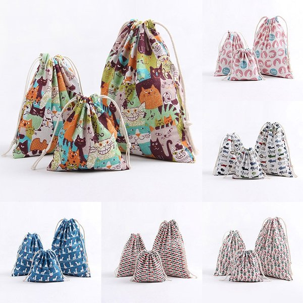 3pcs/set Christmas Gift Bag Storage Bag Cotton Linen Drawstring Bundle Bags Xmas Candy Tea Gift Wrap Christmas Decorations 9color AN2131