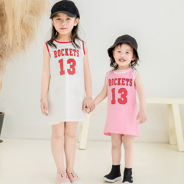 Baby Kids Clothing 2019 Summer casual clothes girls sleeveless sports Basketb dresses children skirt party dress toddler clothes