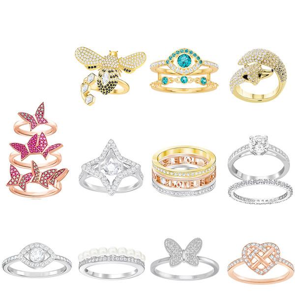 FAHMI SWA Elegant Simple Devil's Eye Fox Butterfly Bees Love Flowing Rings Rose Gold For Women's Valentine's Day Gift Original