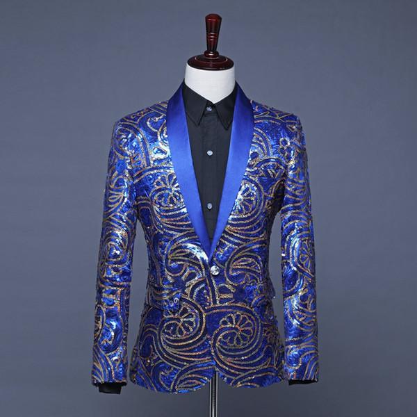 Herren Royal Blue Pailletten Jacke Blue Blazer Herren Bühnenkostüme Karneval Kleidung Americanas Hombre Pailletten Blazer