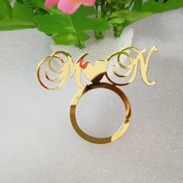 Personalized Napkin Holder, Initial Wooden Mirror Gold Napkin Ring for Weddings, Custom Holder Wedding Table Decoration