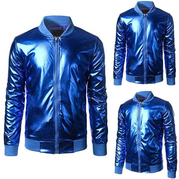 Fashion Men Metallic Nightclub Styles Zip Up Varsity Baseball Bomber Jacket Coat Outerwear Stand Collar Male Clothing