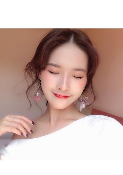Doux Boucles d'oreilles en forme de coeur femme coréenne papillon-noeud boucles d'oreilles perles asymétriques cheveux boule oreille ongles nouveau E552