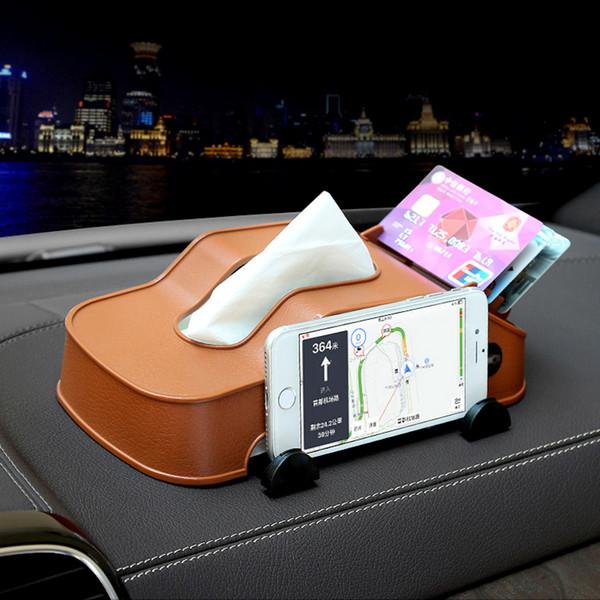 Çok fonksiyonlu Araba Doku Kutusu Cep Telefonu Tutucu Braketi Oto İç Organizatör Peçete Kağıt Kart Depolama Tutucu Standı