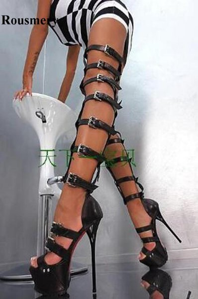 Women Sexy New Fashion Open Toe Straps Style Over Knee High Platform Gladiator Boots Black White Patent Leather Long Sandal Boot