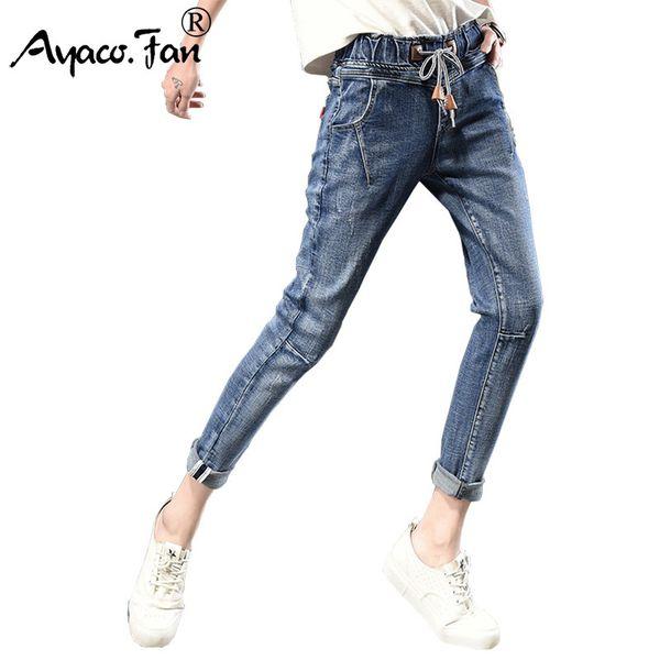 2019 Harem Pants Para As Mulheres Moda Solto Casual Vintage Angustiado Regular Spandex Branqueada Calças Jeans Mulher Calça Jeans Plus Size Y190429