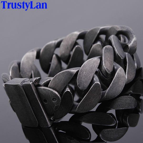 24mm Wide Friendship Mens Bracelets 2018 Black Stainless Steel Charm Man Bracelet Men With Belt Buckle Chain Link Metal Jewelry C19041703
