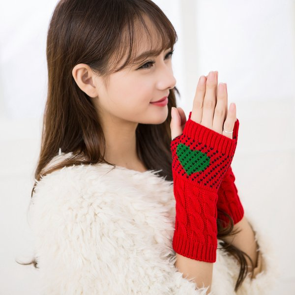Fashion-1 Pair Christmas Heart Typing Gloves Women Girls Arm Wrist Warmer Sleeves Winter Autumn Mittens