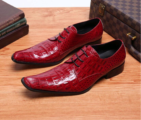 крокодил зерна формальные мужские туфли с острым носом роскошные оксфорды для мужчин натуральная кожа мужская обувь