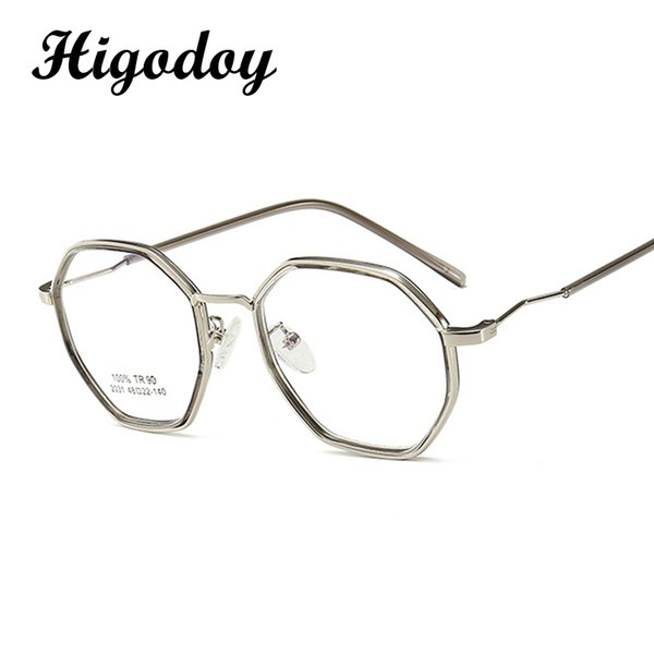 Großhandels-Higodoy Retro Frauen-Metall-Glas-Rahmen für Männer Polygon Optical Eye Gls Framegular Transparent Jahrgang