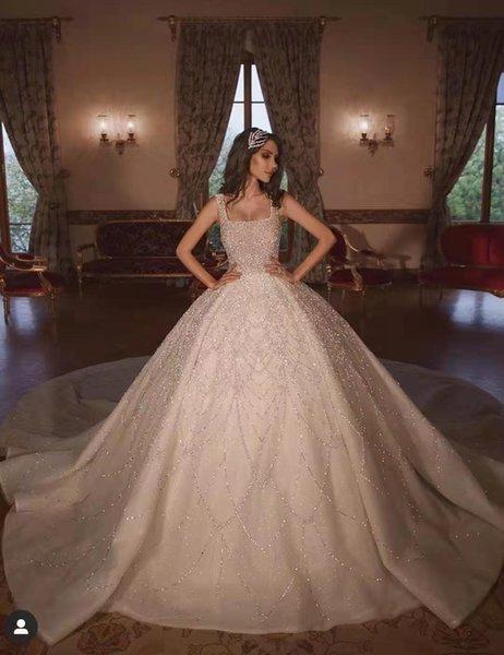Роскошные принцессы бальное платье Блестки кристаллов Свадебные платья квадратный вырез Свадебные платья Хобейка Свадебные платья суд поезд дешевый