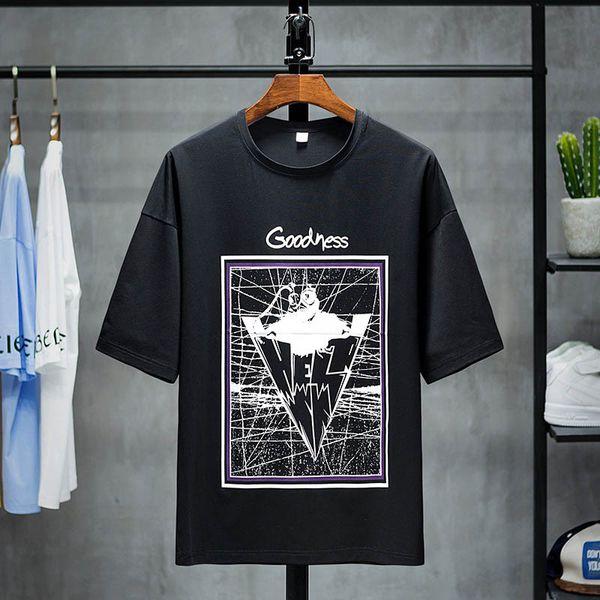 Men's T-shirts Fashion Casual Simple Geometric Print Breathable Loose Thin Soft Shirts Plus Size M-3XL 2019