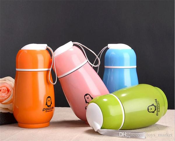 Penguen Su Şişesi Paslanmaz Çelik Çift Katmanlı 4 Renkler Tumblers Sevimli Şarap Cam Bardak Seyahat Araç Bira Kupalar