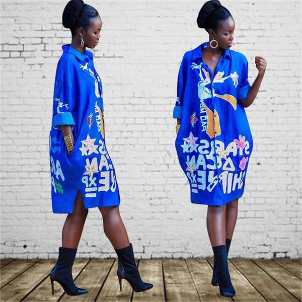 Moda Yaz Tasarımcı Günlük Baskı Karikatür Şekil Bluz Yeni Sonbahar Sweet Renkli Moda Gömlek Yaka Yaka Uzun kollu üstler