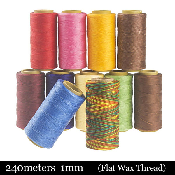 240meter Light Brown Sewing Waxed Thread 150D 1mm Leather Hand Stitching Flat Wax Leather Craft Needle Work for Making Bags