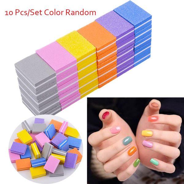10 Pcs Colorful Form Sanding Nail File Buffer Block for UV Gel Nail Polish Art Tools Manicure Pedicure Random Color Form