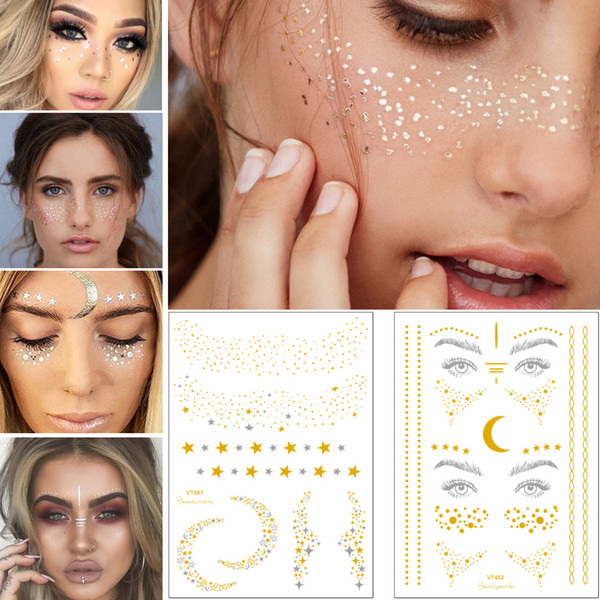 Face Tattoo Metal Gold Flash Temporary Design Sprinkles Moon Star Chain Freckle Dot Body Art Eye Jewelry Decal for Woman Tattoo Sticker Sexy