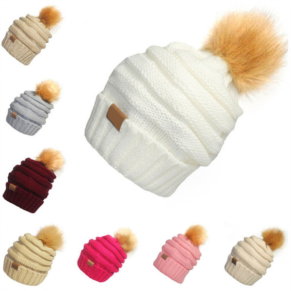 Unisex C Knitted Hats Trendy Fur Pom Beanie With C Label Winter Crochet Hat Chunky Skull Caps Women Men Outdoor Warm Headgear Knit Cap