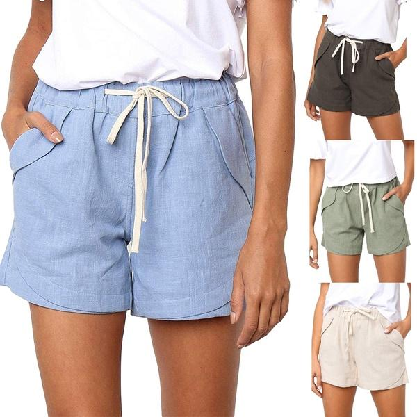 2019 New Fashion Women Summer Solid Color Casual Drawstring Elastic Waist Comfy Cotton Linen Shorts for Ladies