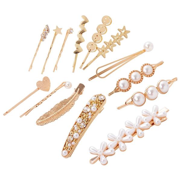 White Pearls Hair Clips for Women Fashion Sweet Imitation Korean Style Hairpins Alloy BB Headmade Girls INS Hair Accessories