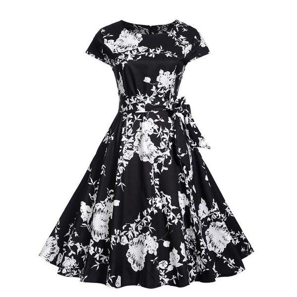 Women Clothes Hepburn Dresses Floral Print Summer Dress Vintage Party Wedding Bodycon Slim Dress Girl Casual Dresses Apparel GGA1745