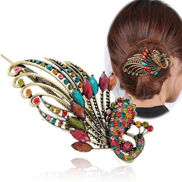 2019 NOUVEAU Femmes Filles rétro cristal Peacock Barrettes Outils Bohême Beauté Duckbill cheveux Pin Claw Clamp