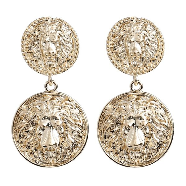 Exaggerated Alloy Lion Head Vintage Ethnic Dangle Earrings For Women Accessories Fashion Baroque Collection Earrings Jewelry