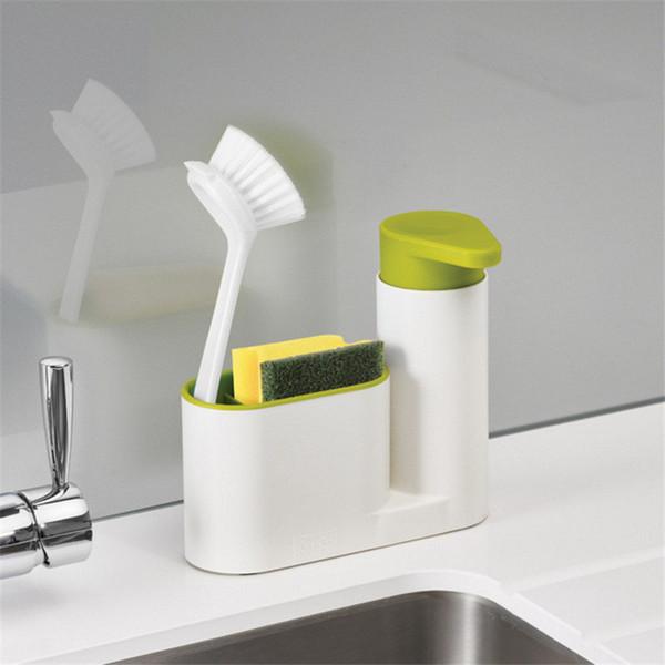 2 In 1 Multifunctional Kitchen Storage Rack Washing Sponge Brush Sink Detergent Soap Dispenser Bottle Kitchen Organizer Gadgets