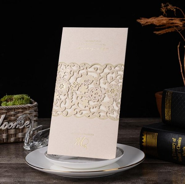 Elegant Laser Cut Wedding Invitation Card Personalized Custom Printable Flower Wedding Decoration Greeting Cards Event Party Supplies Greetings Cards