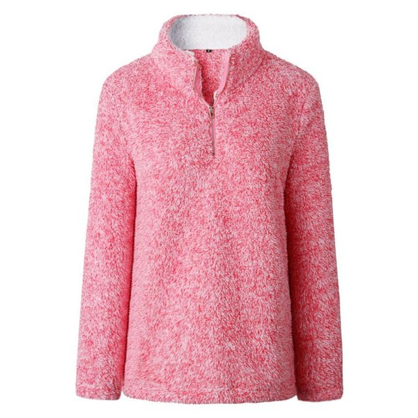 Kadınlar Sıcak Kış Sonbahar Artı Boyutu Ceket Düz Renk Yüksek Yaka Uzun Kollu Fermuar Casual Gevşek Tops