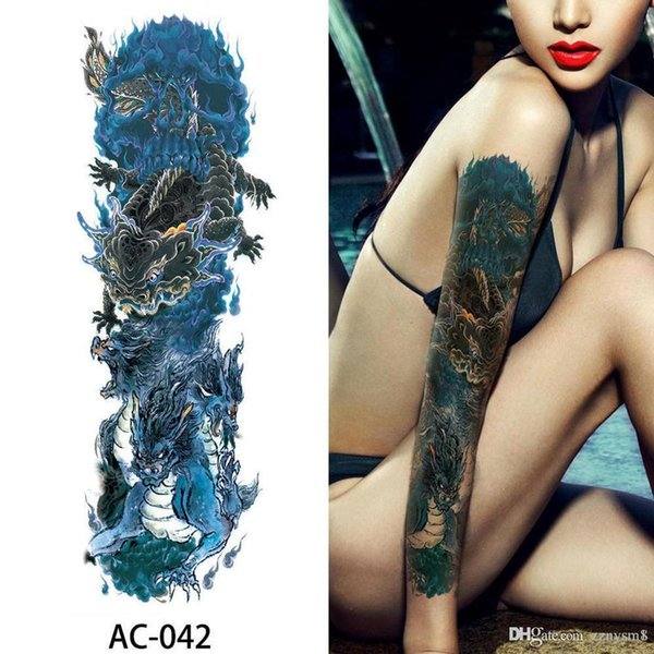 16 Designs Full Arm Temporary Tattoo Sleeve Waterproof Tattoos For Cool Men Women Tattoos Stickers On The Body Beach Decoration