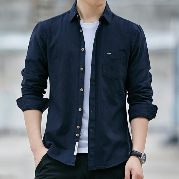 Compre Camisas De Vestir Para Hombre Solido Boda Casual Para Hombres 4x Ldress Camisas Hombres 2019 Nueva Marca Primavera Manga Larga Sarga De