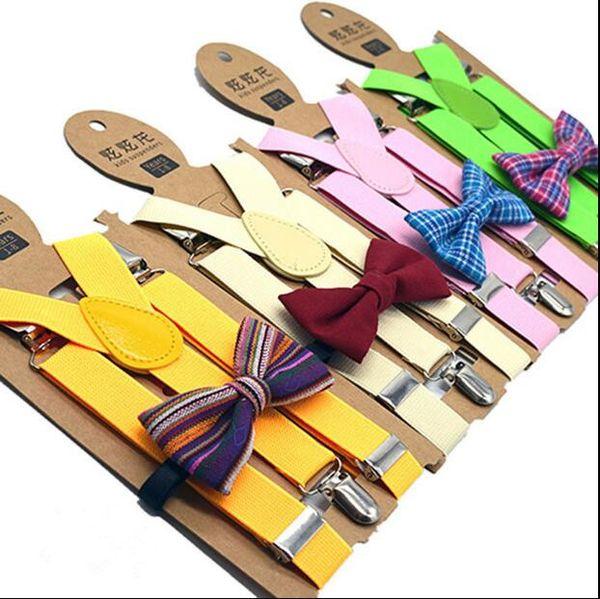 Дети Регулируемая решетка Подтяжки Детские плед печати брекеты Детский ремень клип с Bow Tie Ремни партии Wedding School Tie Suit подарков E458