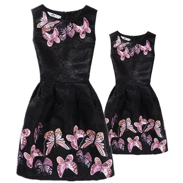 New Mom Daughter Clothes Family Look Mother Daughter Dresses Family Matching Clothing For Summer Sleeveless Printed Family Dress Y19051103