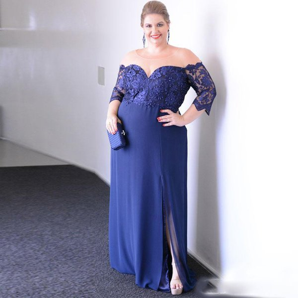 Compre Azul Real Tallas Grandes Vestidos De Madrina Cuello Transparente Manga Tres Cuartos Con Cuentas Vestido De Noche Dividido Con Gasa Vestido