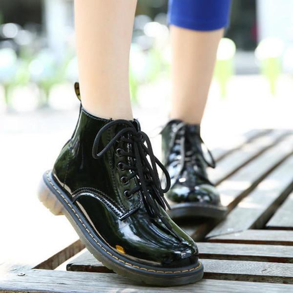 COOTELILI Plus Größe Botas Lackleder Stiefel Frauen Schule Stil Schnürschuhe Für Mädchen Rot Schwarz Motorrad StiefelettenM 40