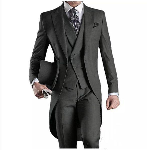 Latest Design One Button Dark Grey Groom Tuxedos Peak Lapel Groomsmen Mens Wedding Party Suits 3 Pieces Blazer (Jacket+Pants+Vest+Tie) K23