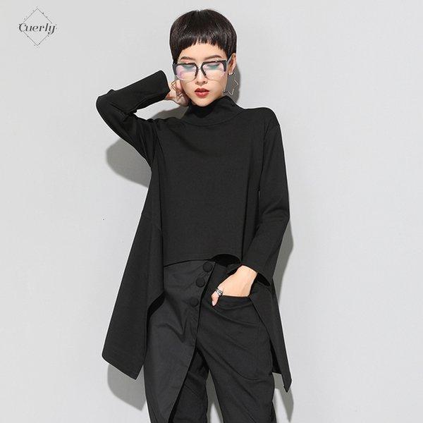 Vintage Zll1177 T-shirt col roulé femmes Taille Plus Kawaii Casual manches longues irrégulière Hauts vêtements coréens Linen New Black