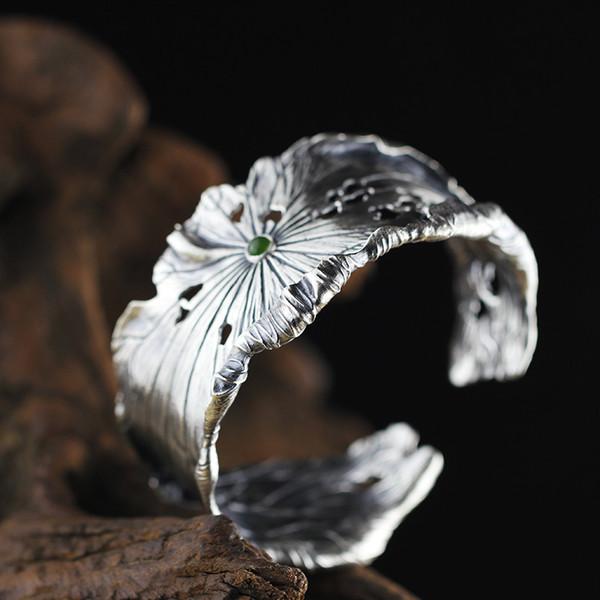 louleur 990 sterling silver jade bangles handmade lotus leaves natural hetian jasper jade bangles for women charms jewelry gift