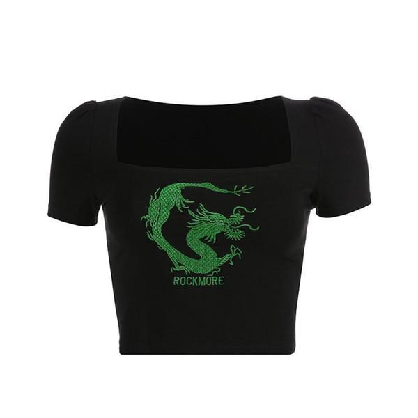 Frauen Goth Schwarz Loong Brief Stickerei Ernte T-shirt Tops Lässige Streetwear Punk Rock Hip Hop T-shirts Top C19041501