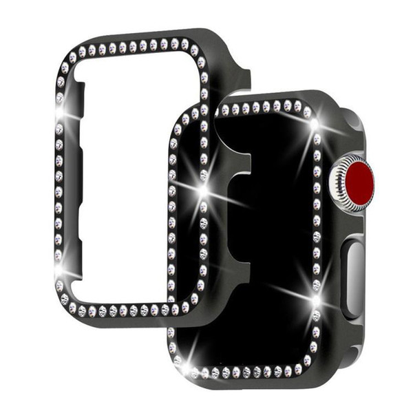 Diamond aluminum shell Cover for Apple Watch 42mm 38mm Crystal Rhinestone Protective Frame Case iwatch Series 3/2/1 Metal Bumper